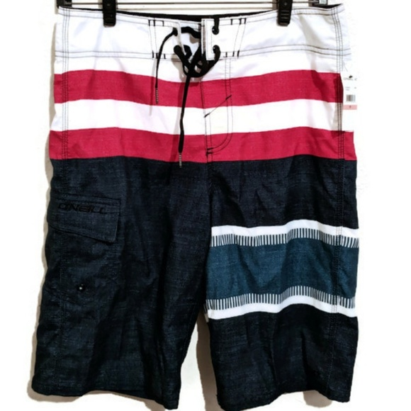 71e97e9d70 O'NEILL Mens Red White & Blue Boardshorts S 28 NWT